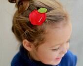 Felt hair clip -No slip -Wool felt -Apple -red