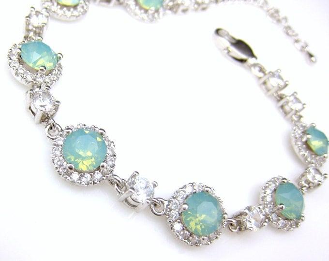 wedding bracelet bridal jewelry prom gift pageant mothers day swarovski pacific blue mint opal round cut rhinestone with cubic zirconia halo