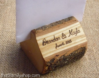 Photo Holder Rustic Wedding Favor Custom Names /Initals /Date /Lettering Memory Picture Stand
