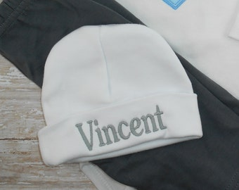 Baby's first hat, Baby hospital hat, boy, girl, Custom, embroidered, NAME, infant hat, beanie, hat, newborn hat, cap, baby photo prop