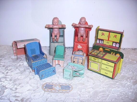 Vintage Dolls House Vintage 1930's Cardboard Doll