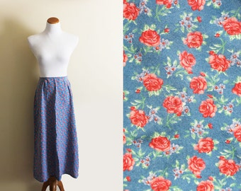SALE vintage skirt 90's floral print maxi rose blue pink romantic spring 1990's women's clothing size small s