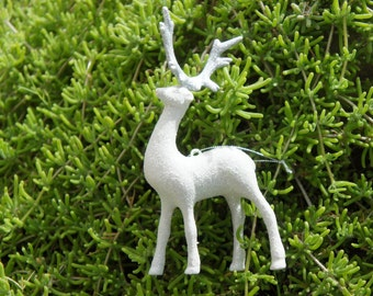 Vintage 80s-90s Sparkly White Deer Christmas Ornament