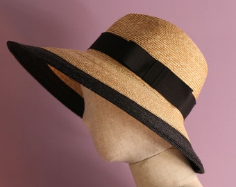 "Wide brim two tone fedora hat ""Dalia"""