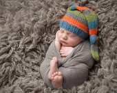 Knit Baby Hat, Striped, Pick your Colors, Newborn Sleeping Cap Hat, Photo Shoot Prop