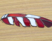 Stained Glass Feather - red and white #sg3