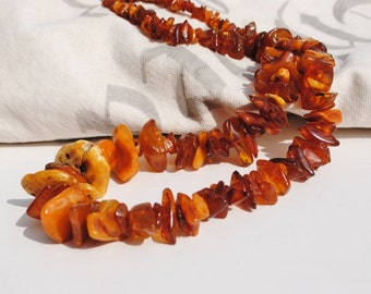 110 GRAM Vintage Honey Amber Graduated Chunk Necklace, Amber Necklace, Chunky Amber Necklace, Natural Amber,