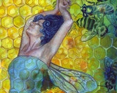 Queen's Dance. Visionary Art Print of original painting by Annie Kyla Bee. Honey Bee Art Honeycomb Tesselation Sacred Bee Ayahuasca Art