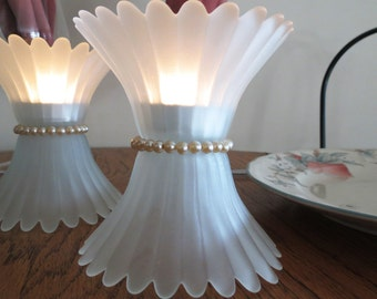 Candle Light,Table Lighting, Frost Floweret Pair with Golden Pearl Band, Tea Light