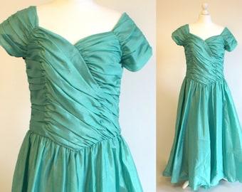 80s green prom dress - green dress - taffeta fabric skirt dress - ruffle evening dress - prom green ballgown - green wedding dress