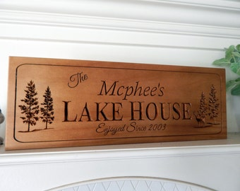 Lake House Sign 3D Sign Lake House Decor, Cottage sign,  Beach House sign, Man Cave sign, Cabin decor, Carved in solid pine 8 x 24