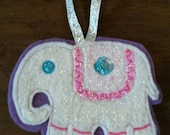 Beautiful and sparkly embroidered elephant tree ornament