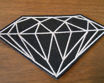 Metallic silver embroidered diamond iron on patch ready to ship