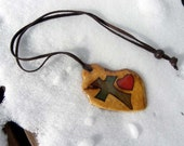 Maple Burl Wood  Natural Art Coloured Cross and Heart - Original Design Pendant or Brooch
