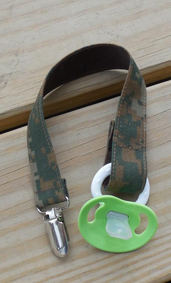 Military Pacifier Holder Us Marine Woodland Camo Fabric