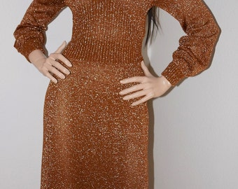 Vintage 70s Metallic Bronze Knit Maxi Dress / 1970s Sparkle Knit Sweater Dress by Wenjilli