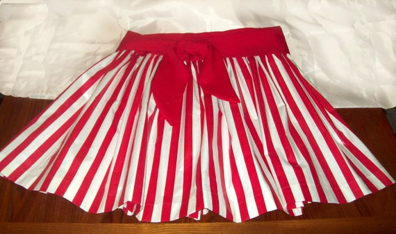 Full Gathered Red and White Striped Skirt Short Gathered