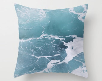 Blue Ocean Pillow Cover, Throw Pillow, Beach Decor