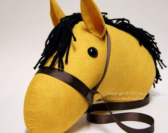 Buckskin Stick Horse Head with Black Mane, Brown Bridle, MADE to ORDER, With or Without Stick, last one