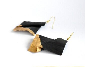 Black earrings, dangle earrings, handmade, textile jewelry, modern jewelry, silk earrings, handdyed, black, spring, summer accessories
