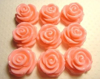 Large Resin Rose flower beads (with hole) 23mm 6pcs