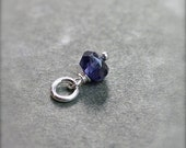 Iolite September Birthstone Pendant, Sterling Silver Wire Wrapped Gemstone - Add a Dangle