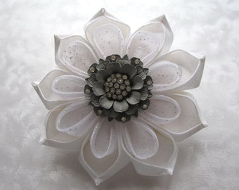 Frost Bloom Giant White Kanzashi Flower Barrette