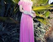 Vintage 90s pink velvet off the shoulder princess maxi dress