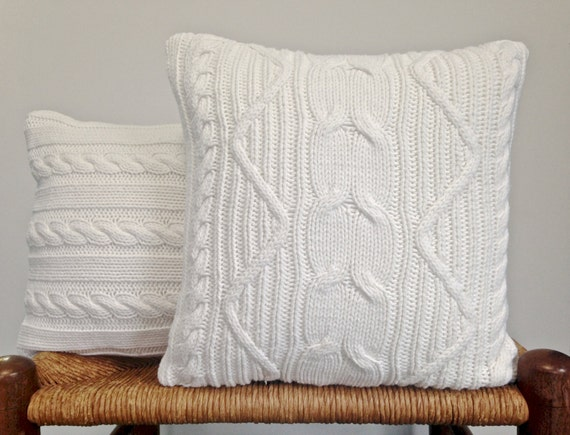 fisherman knit cable sweater pillow covers off white cotton. Black Bedroom Furniture Sets. Home Design Ideas