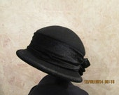 Black Wool Cloche with Black Velvet - Velvet Trim Cloche - Black Velvet Wool Cloche
