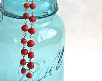 Acai Seed Dangle Earrings / Wire Wrapped Acai Jewelry / Brazilian Earrings / Long Red Earrings / Red Acai Earrings / Seed Earrings / Boho