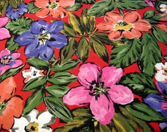 """Vintage 70s Mod Floral Decorator Fabric -Lg Hibiscus Flower Power Orange Pink Green Purple Red -Clothing Home Decor Drapery Cotton 60"""" w BTY"""