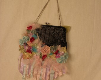 Fairie Black Purse Art to Wear Accessories OOAK and Whimsical