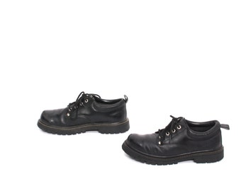mens size 9 SKECHERS black leather 90s BROGUES 4 eyelets shoes