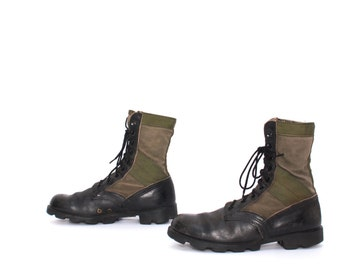 mens size 8.5 MILITARY  leather  canvas GOTH 70s COMBAT jungle lace up boots