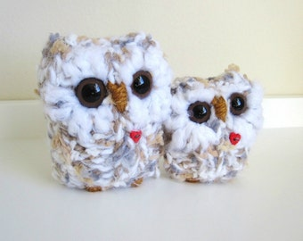 Knitted Owls, Plush Animal Pair, mother and baby love owls, Mother's Day