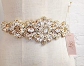 Grey and Gold Crystal Bridal Sash- Crystal Bridal Sash- Crystal and Opal Bridal Sash