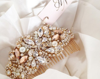 Rose Gold Crystal Bridal Comb- Rose Gold Crystal and Pearl Hair Comb- Swarovski- One-of-a-Kind Hand-Beaded