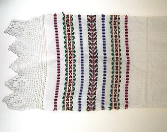 """Vintage Ukrainian Ceremonial Rushnyk Table Runner Towel 2 Folk Handwoven Embroidery and Crochet White Linen  78"""" by 13"""" from Ukraine USSR"""