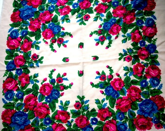 "Vintage Russian Scarf Shawl Pink Roses Blue Flowers Floral on Off White Wool 35"" inches From Russia Soviet Union USSR"