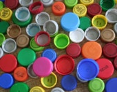 100 mixed plastic bottle caps -- lot of bottle caps from soda, juice, milk and water bottles -- recycled plastic bottle lids