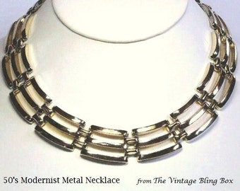 Modernist 16 Inch Gold Metal Necklace in Chain Link Open Metalwork Link Motif & Fold Over Box Clasp - Vintage 60's Costume Jewelry