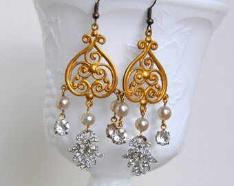 Antiqued Gold and Vintage Rhinestone Chandelier Earrings