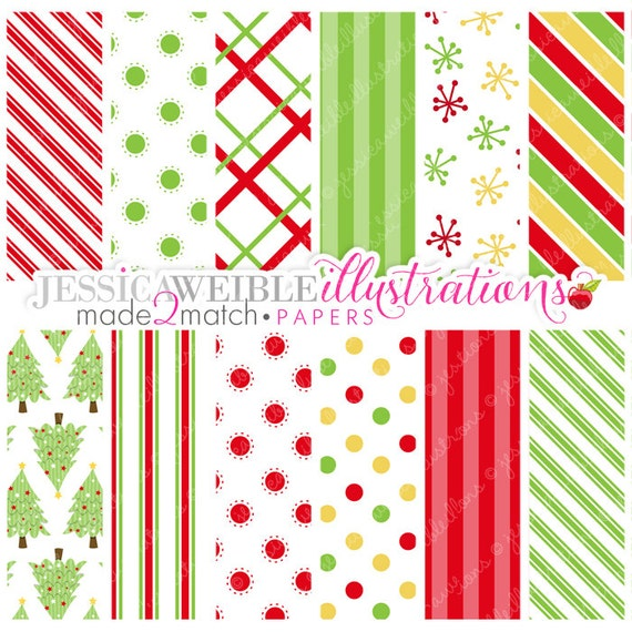 Christmas Angels Cute Digital Papers for Card Design, Scrapbooking, and Web Design