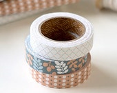 3 Set - Leaves Fence Dot Path Adhesive Fabric Tapes (0.6in)