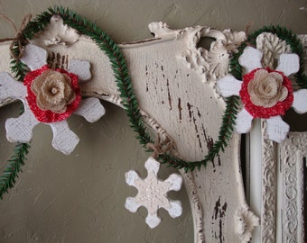 Rustic Christmas garland wood snowflakes doilies burlap woodland decor garland red and white Shabby Cottage Chic Christmas home decor