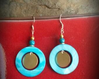 Blue Shell Gold Sterling Silver Earrings, Gold Blue Shell Earrings, Blue Shell Earrings, Blue Shell Sterling Earrings