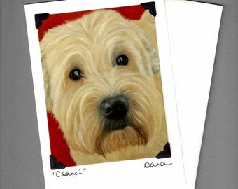 Wheaton Terrier Card - Smooth Coated Wheaton Terrier - Dog Art Card - 10% Benefits Animal Rescue