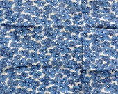 Vintage Blue Floral Cotton Fabric Calico Flowers Quilting