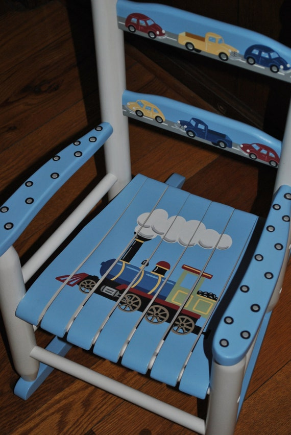 Handpainted rocking chair kids rocking chairs rocking for Kids chairs for boys